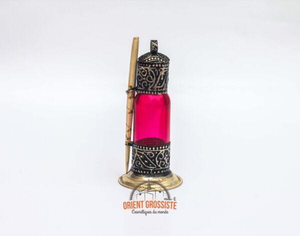 Flacon à Khôl traditionnel en bois Rose - fait main (Lot de 6)